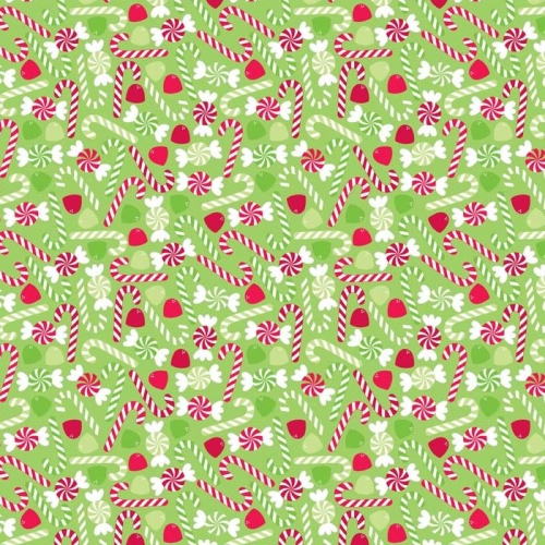 Riley Blake Designs - Home for The Home For The Holidays - Candy in Green *** REMANNT PIECE 98CM X 112CM ***