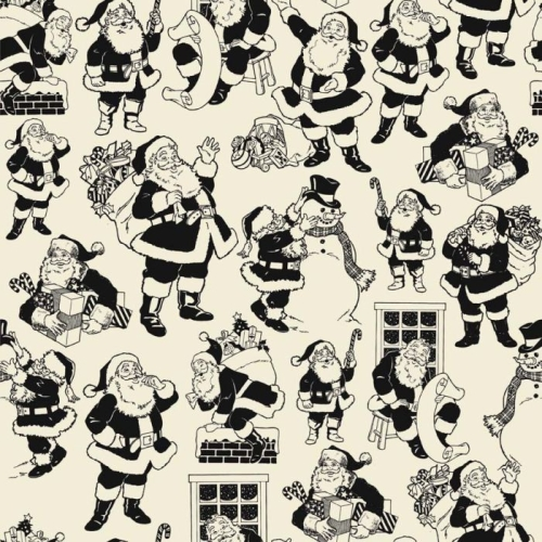 Riley Blake Designs - Lost and Found Christmas Santa in Black
