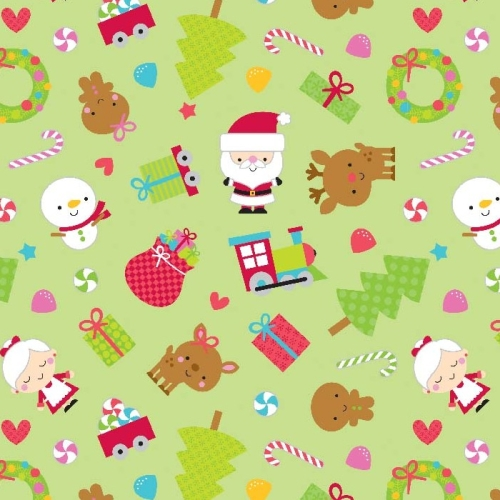 Riley Blake Designs - Santa Express Main in Green *** REMNANT PIECE 73CM X 112CM ***