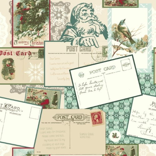 Riley Blake Designs - Postcards for Santa - Main in Green *** REMNANT PIECE 85CM X 112CM ***