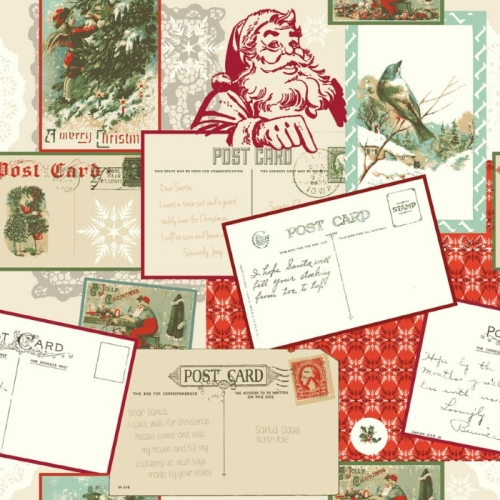 Riley Blake Designs - Postcards for Santa - Main in Red *** REMNANT PIECE 86CM X 112CM ***
