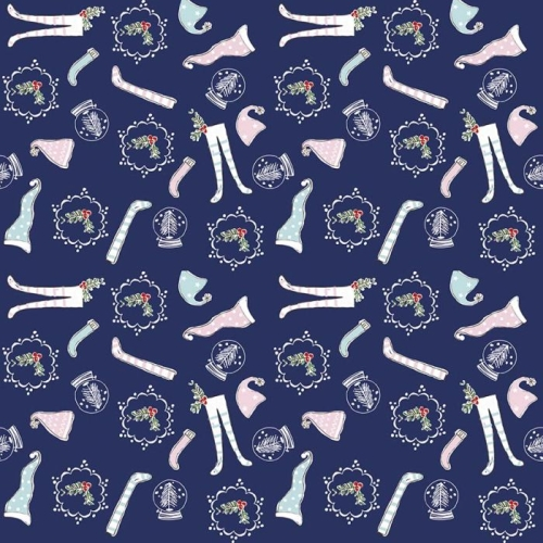 Riley Blake Designs - Pixie Noel - Christmas Hats and Socks in Navy ***REMNANT PIECE 91CM X 112CM***