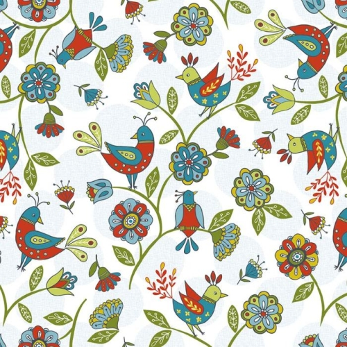 Riley Blake Designs - Dutch Treat - Birds in White