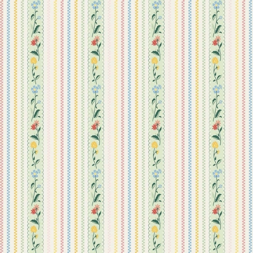 Penny Rose Fabrics - Bunnies and Cream Stripe Mint