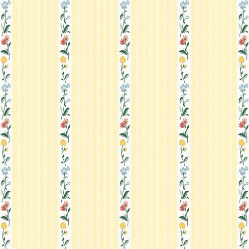 Penny Rose Fabrics - Bunnies and Cream Stripe Yellow