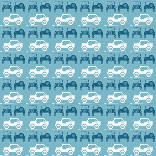 Riley Blake Designs - J is for Jeep Jeeps in Blue