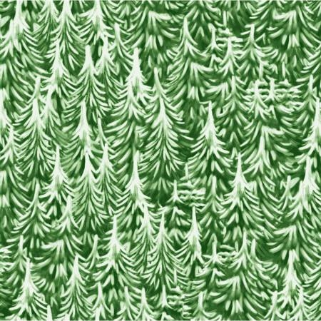 P & B Textiles - Christmas Village - Pine Trees in Green