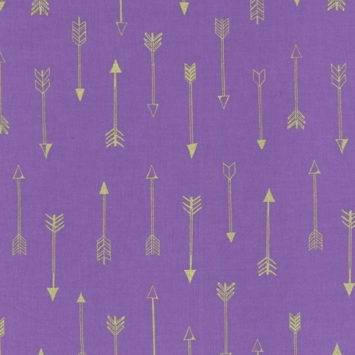Michael Miller - Arrow Flight - Arrows in Grape with Gold metallic accents