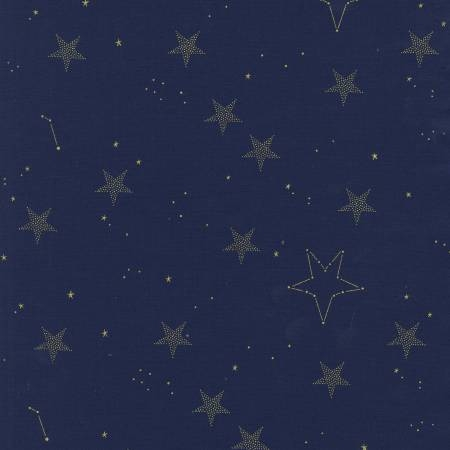 Michael Miller - Magic by Sarah Jane - Lucky Stars in Navy with Metallic Gold