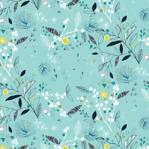 Dashwood Studio - Norrland Floral in Aqua with Gold Metallic Accents