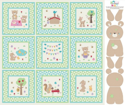Riley Blake Designs - Teddy Bears Picnic - Panel in Green