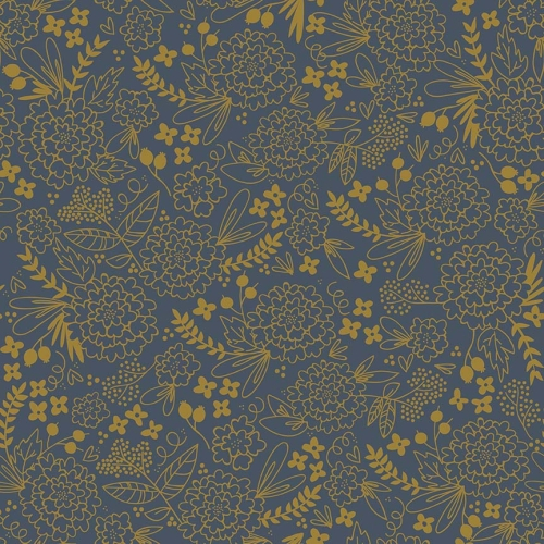 Riley Blake Designs - On Trend Floral in Navy with Metallic Gold Sparkle