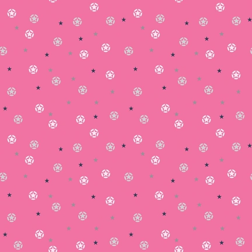 Riley Blake Designs - J is for Jeep Stars in Pink with Silver Metallic Sparkle