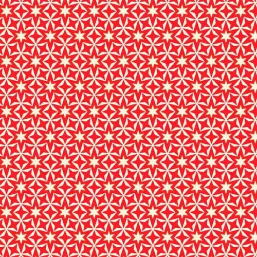 Andover - Modern Metallic Christmas - Geometric Stars Red on Off White