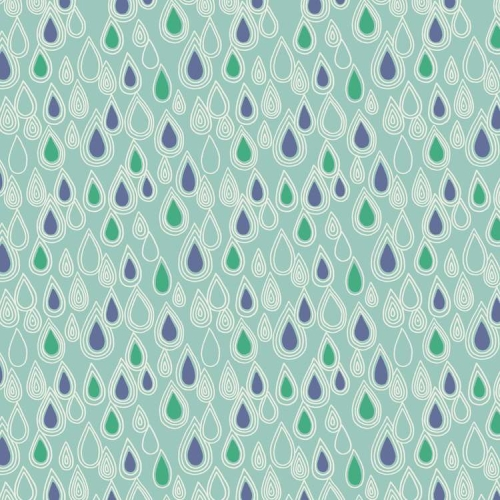 Lewis and Irene - April Showers - Raindrops on Aqua *** REMNANT 1 METRE PIECE ***