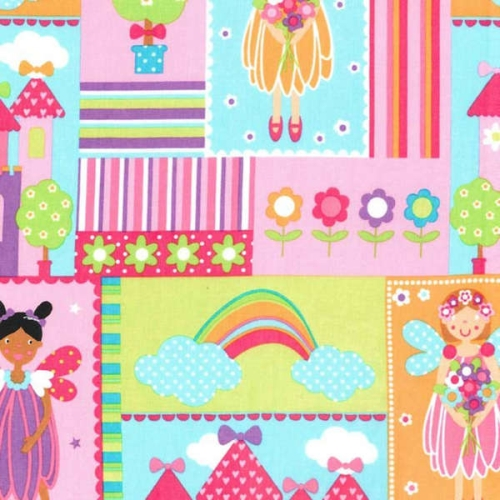 Michael Miller - Princess Charming Bright Fairy Patchwork Squares