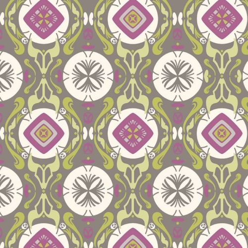 P & B Textiles - Fontaine - Medallion in Grey