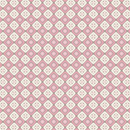 P & B Textiles - Fontaine - Ornate Diamond Geo in Pink