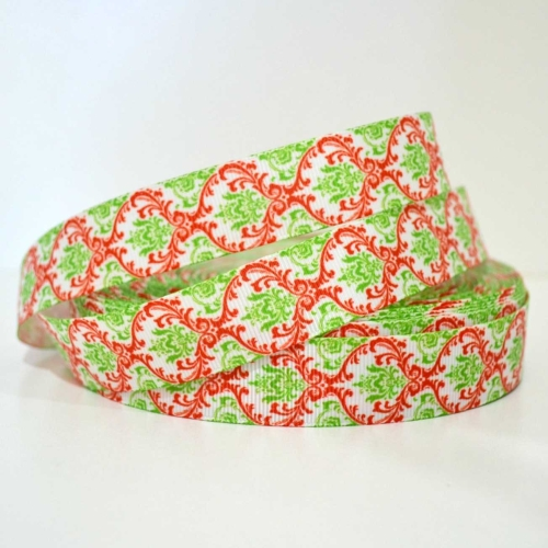 Printed Grosgrain Ribbon - Christmas Damask - 25mm