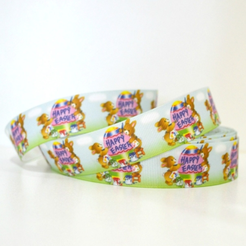 Printed Grosgrain Ribbon - Happy Easter Bunny - 25mm