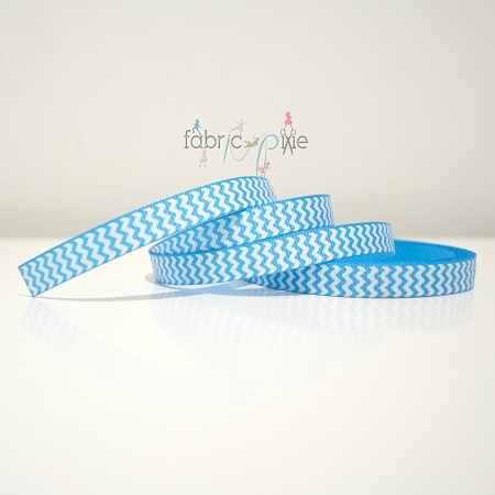 Chevron Grosgrain Ribbon in Aqua - 9mm