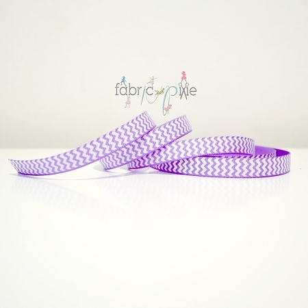 Chevron Grosgrain Ribbon in Lavender - 9mm