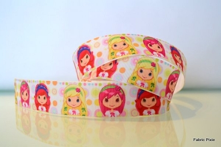 Printed Grosgrain Ribbon - Strawberry Shortcake Girls - 22mm