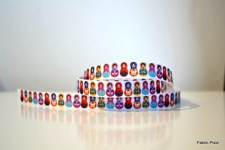 Printed Grosgrain Ribbon - Lil Babushka - 9mm
