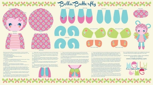 Riley Blake Designs - Flutterberry by Melly & Me - Bella Butterfly Softie Panel in Cream