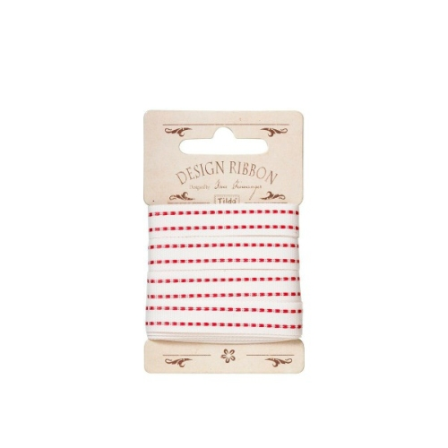 Tilda - Ribbon Cream with Red Stitching - 3 metre pack
