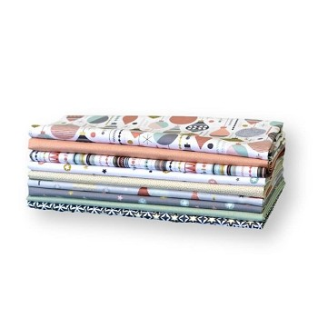 Andover Fabrics - Modern Metallic Christmas Pastels - Half Metre Bundle of 9 Pieces
