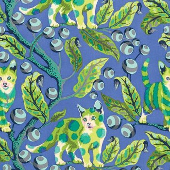 Freespirit - Tula Pink - Tabby Road - Disco Kitty in Blue ***FAT QUARTER ***