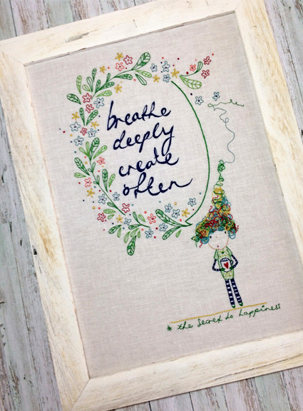 Cinderberry by Natalie Lymer The Secret to Happiness Embroidery Kit - makes 2