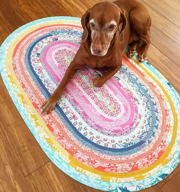 RJ Designs Jelly Roll Rug Squared Area Rug Sewing Pattern