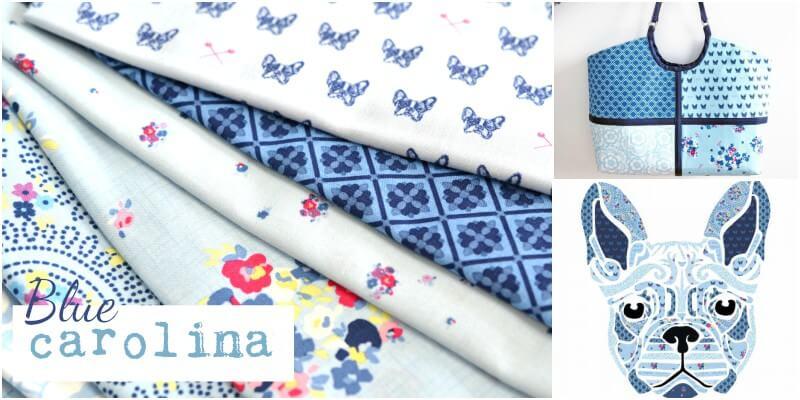 Riley Blake Fabric Blue Carolina Sewing Frenchies Blue HALF METRE