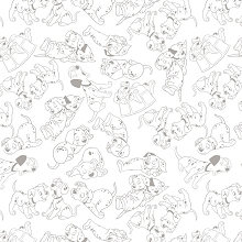 Camelot Fabrics - 101 Dalmations Outlines in Grey