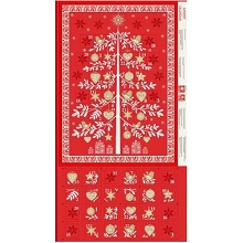 Makower UK Scandi Advent Calender Tree in Red Panel