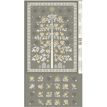 Makower UK Scandi Advent Calender Tree in Silver Grey Panel