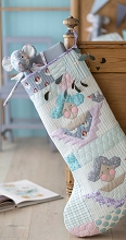 Tilda - Old Rose Scrap Angels Christmas Stocking Kit in Lilac / Teal