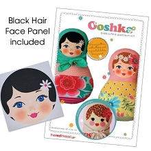 The Red Thread - Ooshka Babushka Doll Pattern plus printed fabric face panel - Black Hair