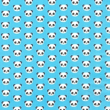 Robert Kaufman - Urban Zooligie by Ann Kelle - Mini Panda Heads in Blue