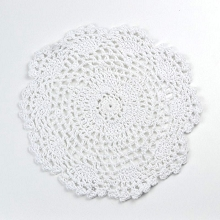 Cotton Crochet Doily - Large in White