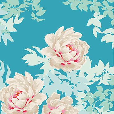 Tilda - Sunkiss - Peony in Teal *** REMNANT PIECE 45CM X 112CM ***