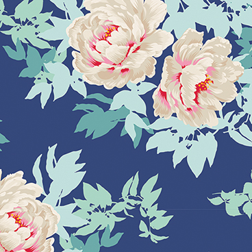 Tilda - Sunkiss - Peony in Blue *** REMNANT PIECE 43CM X 112CM ***
