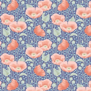 Tilda Gardenlife Poppies Blue *** PRE-ORDER - ARRIVING MAY 2021 ***