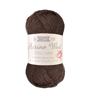 Tilda Merino Wool Yarn for Doll Hair Dark Brown *** PRE-ORDER - ARRIVING 1ST APRIL ***
