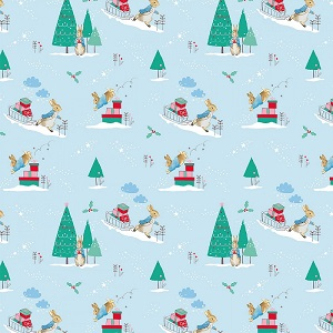Craft Cotton Company Peter Rabbit Christmas Delivery in Blue