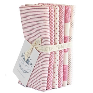 Tilda Classic Basics - Fat Quarter Bundle of 6 Pieces in Pink