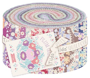 Tilda Plum Garden - 2.5 inch Fabric Roll of 40 pieces