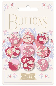Tilda Plum Garden - Fabric Covered Buttons 17mm Pack of 9 *** PRE-ORDER - ARRIVING 1ST JULY 2019 ***